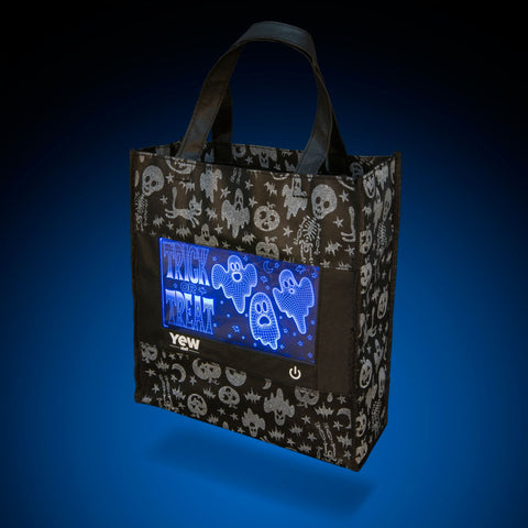 YEW Stuff POP Lights Ghostly Graveyard Halloween Trick or Treat Bag with Blue Light On