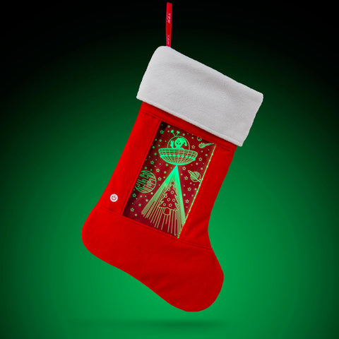 YEW Stuff POP Lights Alien/UFO Holiday Stocking with Green Light On