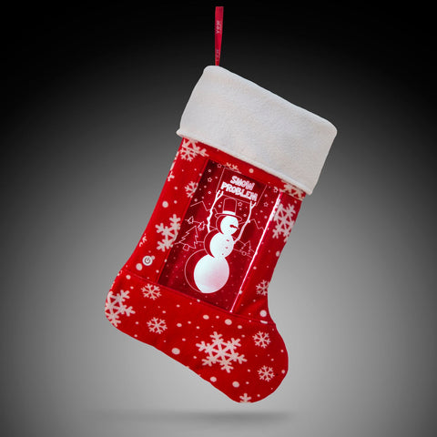 YEW Stuff POP Lights Snowman Holiday Stocking with White Light On
