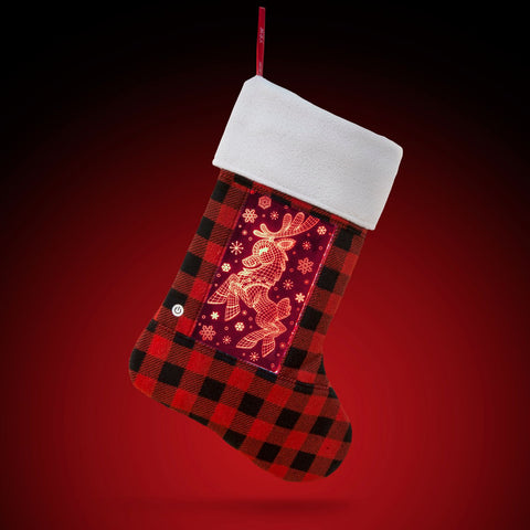 YEW Stuff POP Lights Reindeer Holiday Stocking with Red Light On