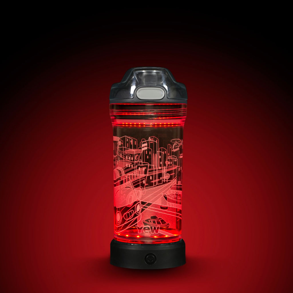 YEW Stuff POP Lights Fire Engine 14oz Water Bottle with Red Light On