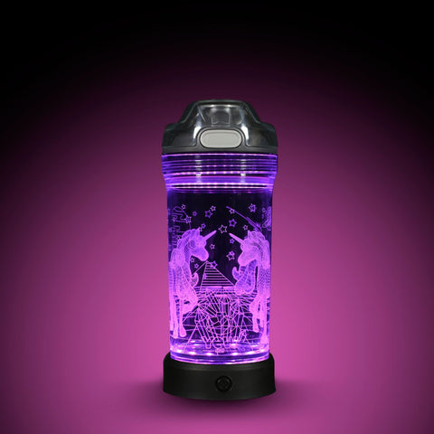 YEW Stuff POP Lights Unicorns 14oz Water Bottle with Purple Light On