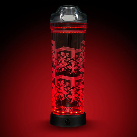 YEW Stuff POP Lights Block Skulls 22oz Water Bottle with Red Light On