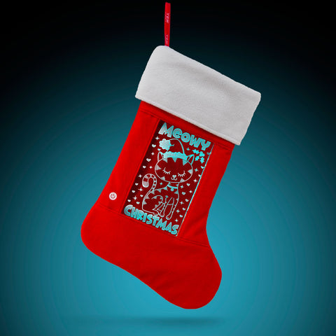 YEW Stuff POP Lights Meowy Christmas Holiday Stocking with Aqua Light On