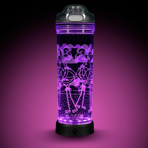 YEW Stuff POP Lights Flamingo 22oz Water Bottle with Purple Light On