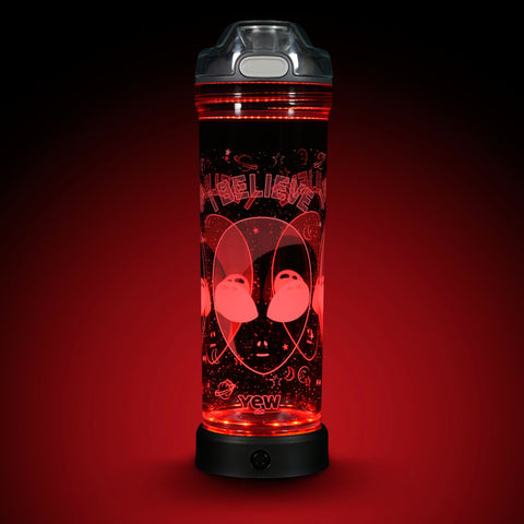 YEW Stuff POP Lights Alien 22oz Water Bottle with Red Light On