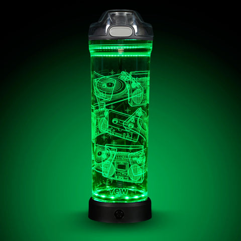 YEW Stuff POP Lights DJ Turntable 22oz Water Bottle with Green Light On