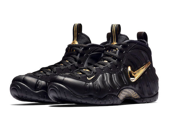56e5d1f1da7 Nike Foamposite Pro Black Gold Collection