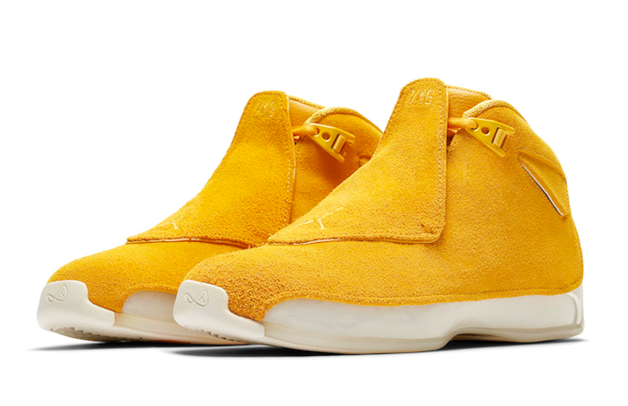 86b3af0450dc5b Jordan Retro 18 Yellow Suede Collection