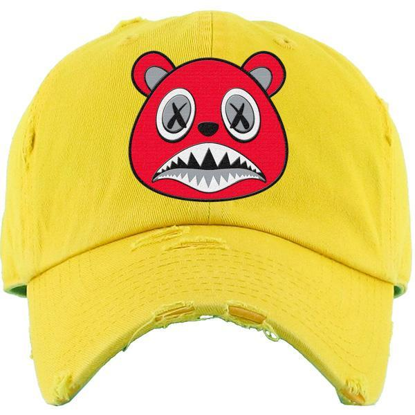 Baws Dad Hat Angry Baws Yellow Distressed Dad Hat