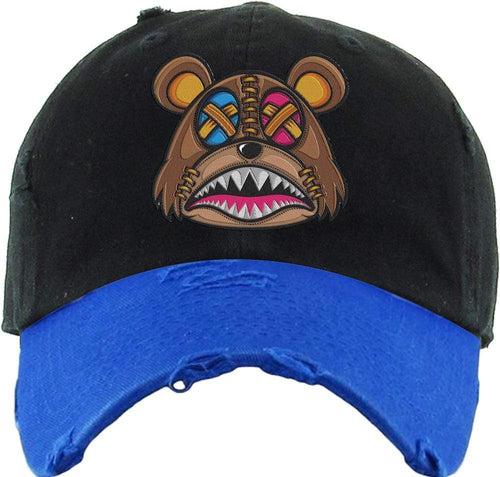 Baws : Hats Dad Hat CRAZY STITCHED BAWS Dad Hat - 2Tone Black/Royal Blue