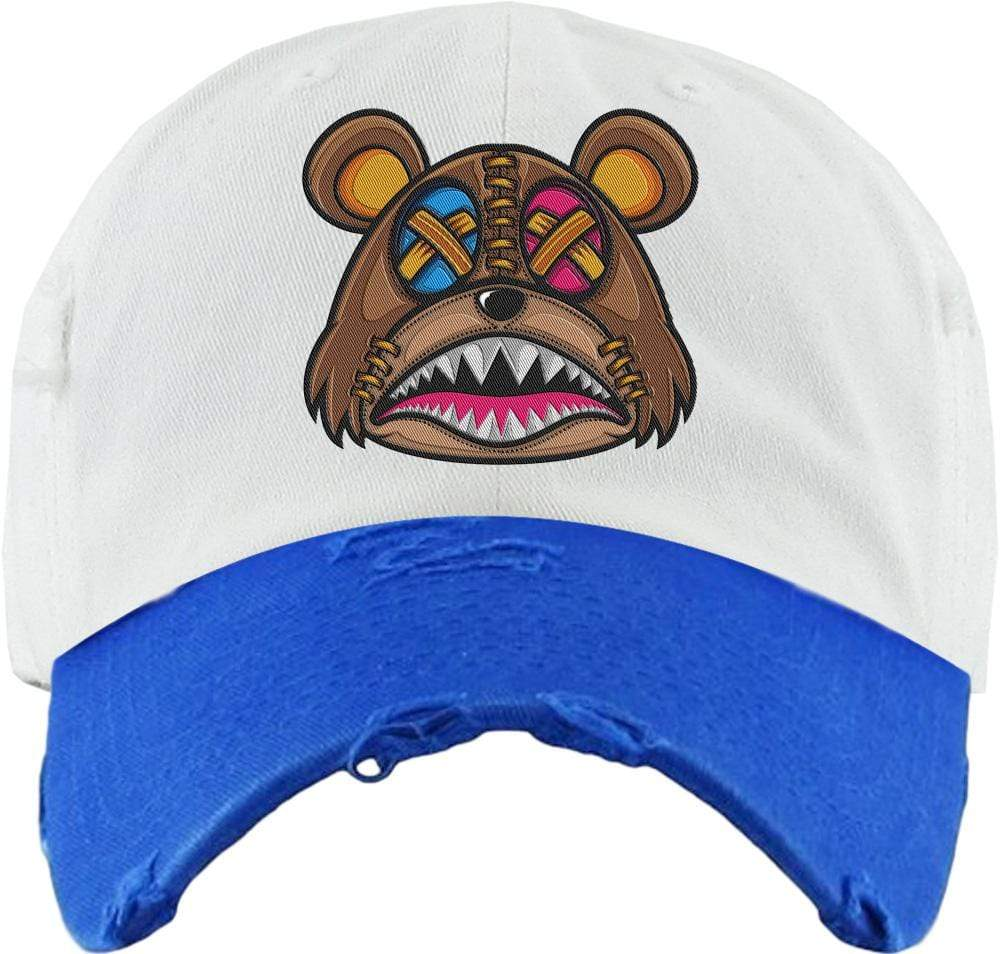 Baws : Hats Dad Hat CRAZY STITCHED BAWS Dad Hat - 2Tone White/Royal Blue