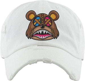 Baws : Hats Dad Hat CRAZY STITCHED BAWS White Dad Hat
