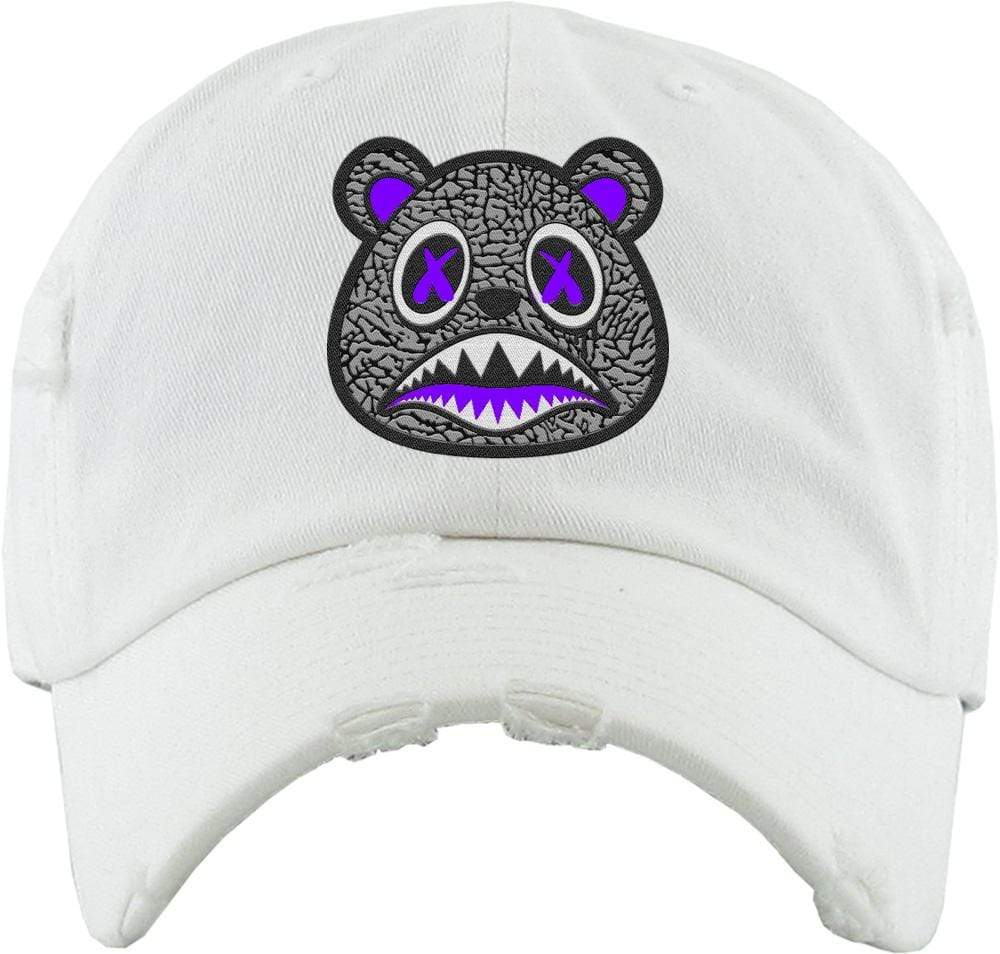 Baws : Hats Dad Hat Purple Elephant Baws Distressed Dad Hat - White