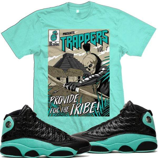 MDM T-Shirt Jordan 13 Island Green Sneaker Tees Shirts - TRAPPERS V1 UP