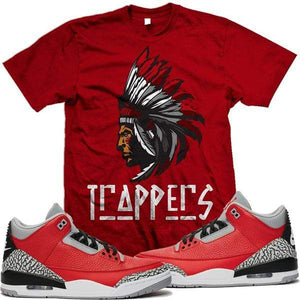 MDM T-Shirt Jordan Retro 3 Red Cement Elephant Match Sneaker Tees Shirt - TRAPPERS