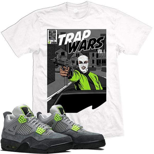 MDM T-Shirt Jordan Retro 4 Neon Green Sneaker Tees Shirts - TRAP WARS