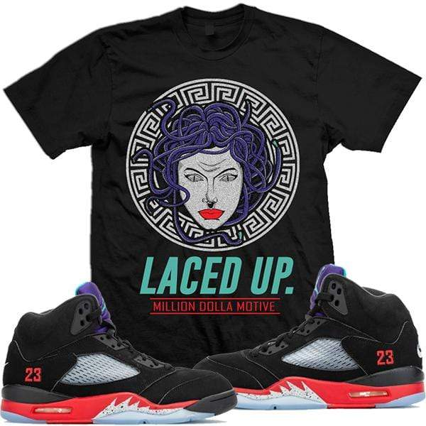 MDM T-Shirt Jordan Retro 5 Top 3 Sneaker Tees Shirts - LACED UP