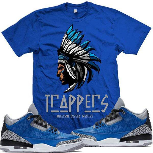 MDM T-Shirt Sneaker Shirt Tees to Match Jordan Retro 3 Varsity Royal Cement Elephant - TRAPPERS