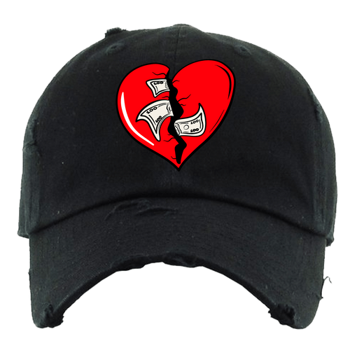 PG Dad Hat Heart Breaker Black Distressed Dad Hat