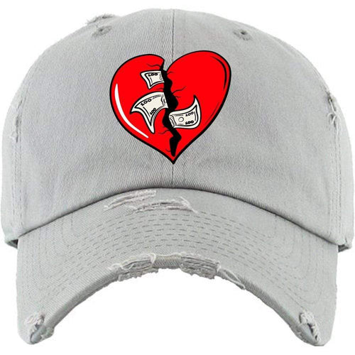 PG : Hats Dad Hat Heart Breaker Light Grey Distressed Dad Hat