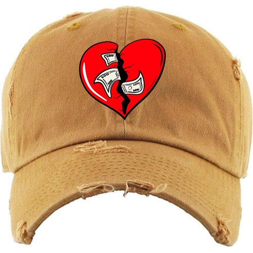 PG : Hats Dad Hat Heart Breaker Wheat Distressed Dad Hat