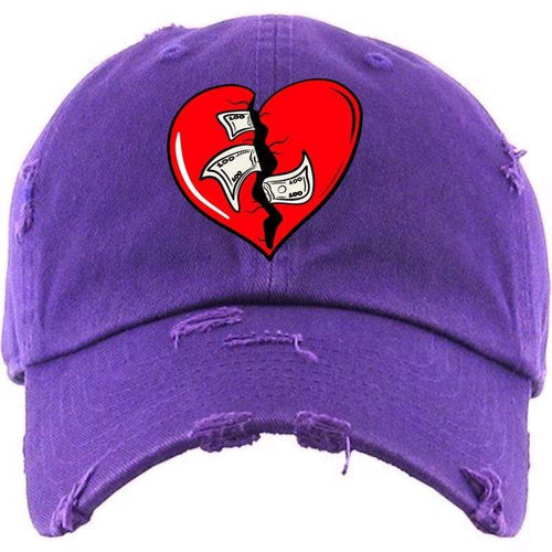 PG : Hats Dad Hat HEART Purple Distressed Dad Hat