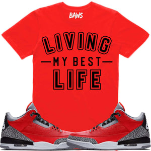"Sneaker Clothing T-Shirt BEST LIFE Sneaker Tees Shirt - Jordan Retro 3 ""Red Cement"" Elephant"