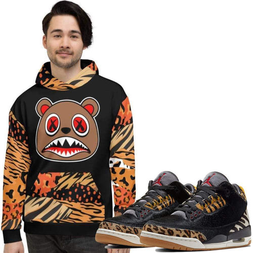 XGear101.com Baws All Over Print (Animal) Hoodie - Jordan Retro 3 Animal