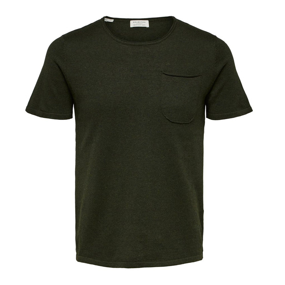 KNIT POCKET T SHIRT GREEN