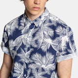 PRINT SHIRT BLUE LEAVES