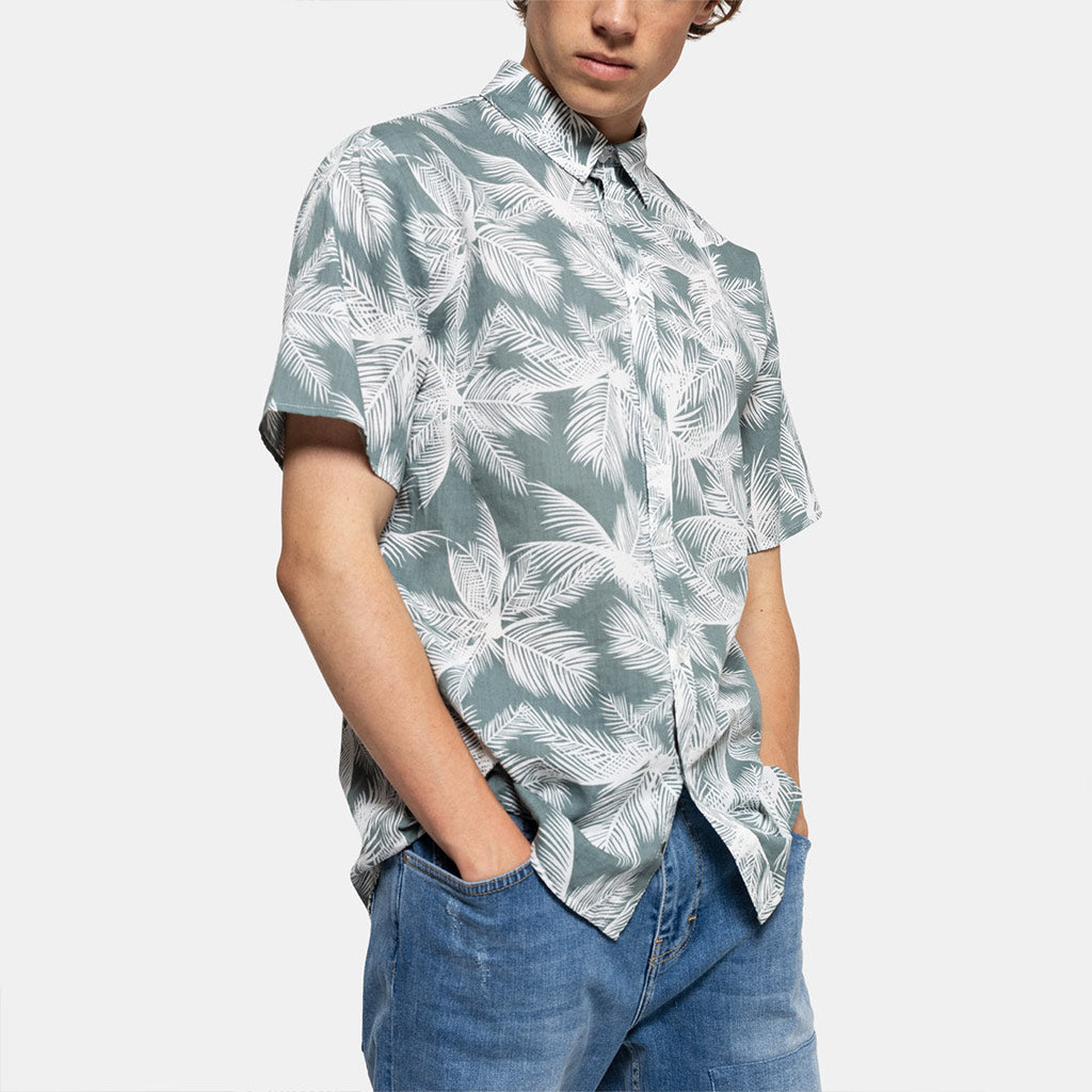 PRINT SHIRT GREEN LEAVES