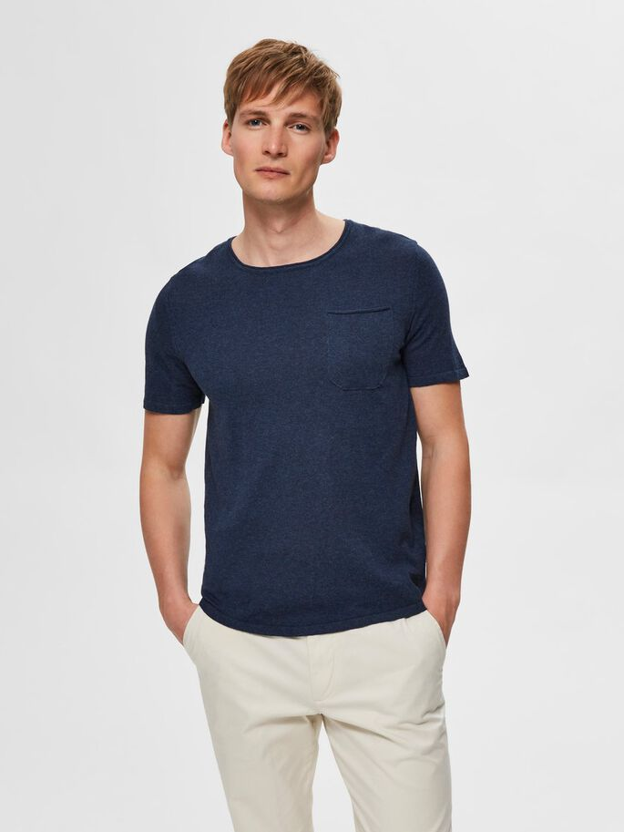 KNIT POCKET T SHIRT BLUE