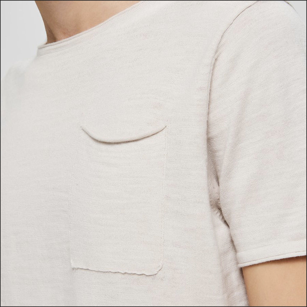 KNIT POCKET T SHIRT WHITE