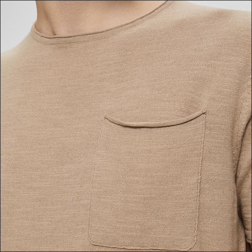 KNIT POCKET T SHIRT CAMEL