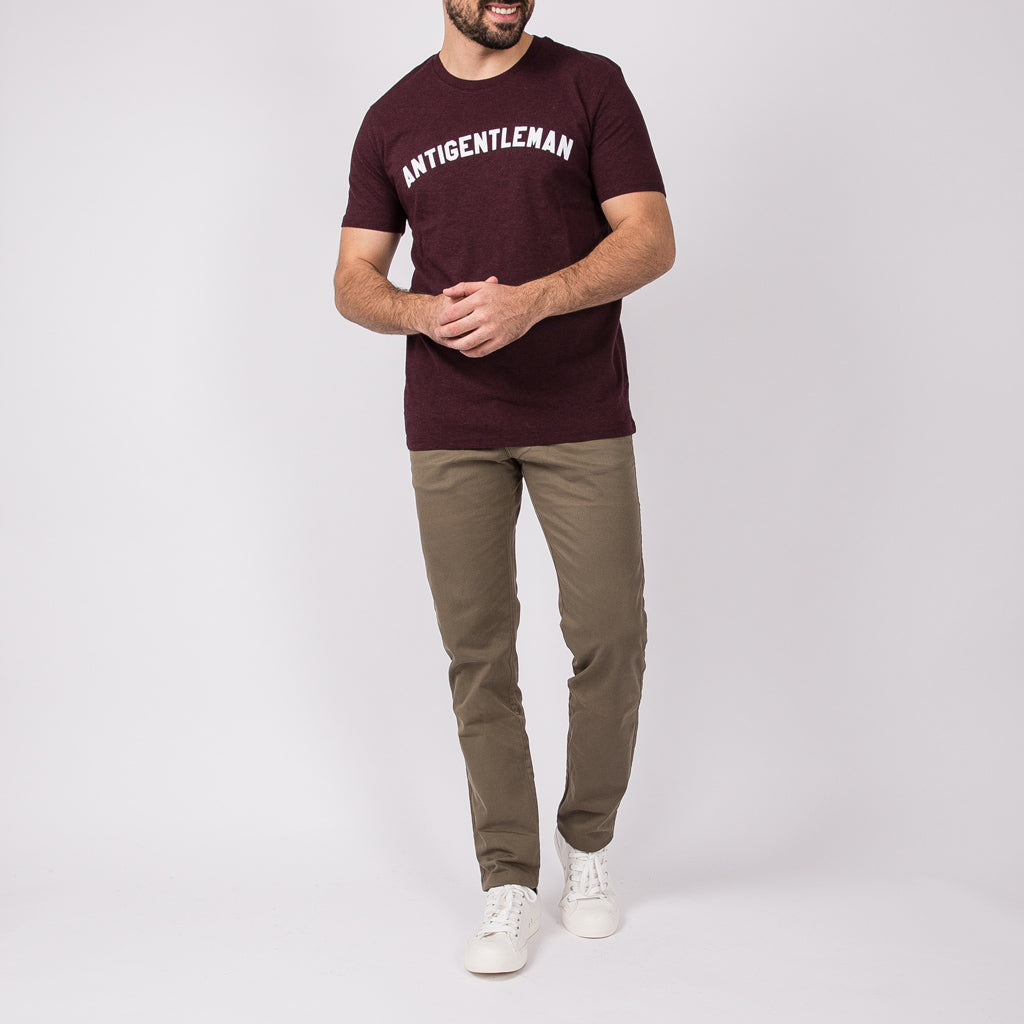 ANTIGENTLEMAN T-SHIRT HEATHER BURGUNDY