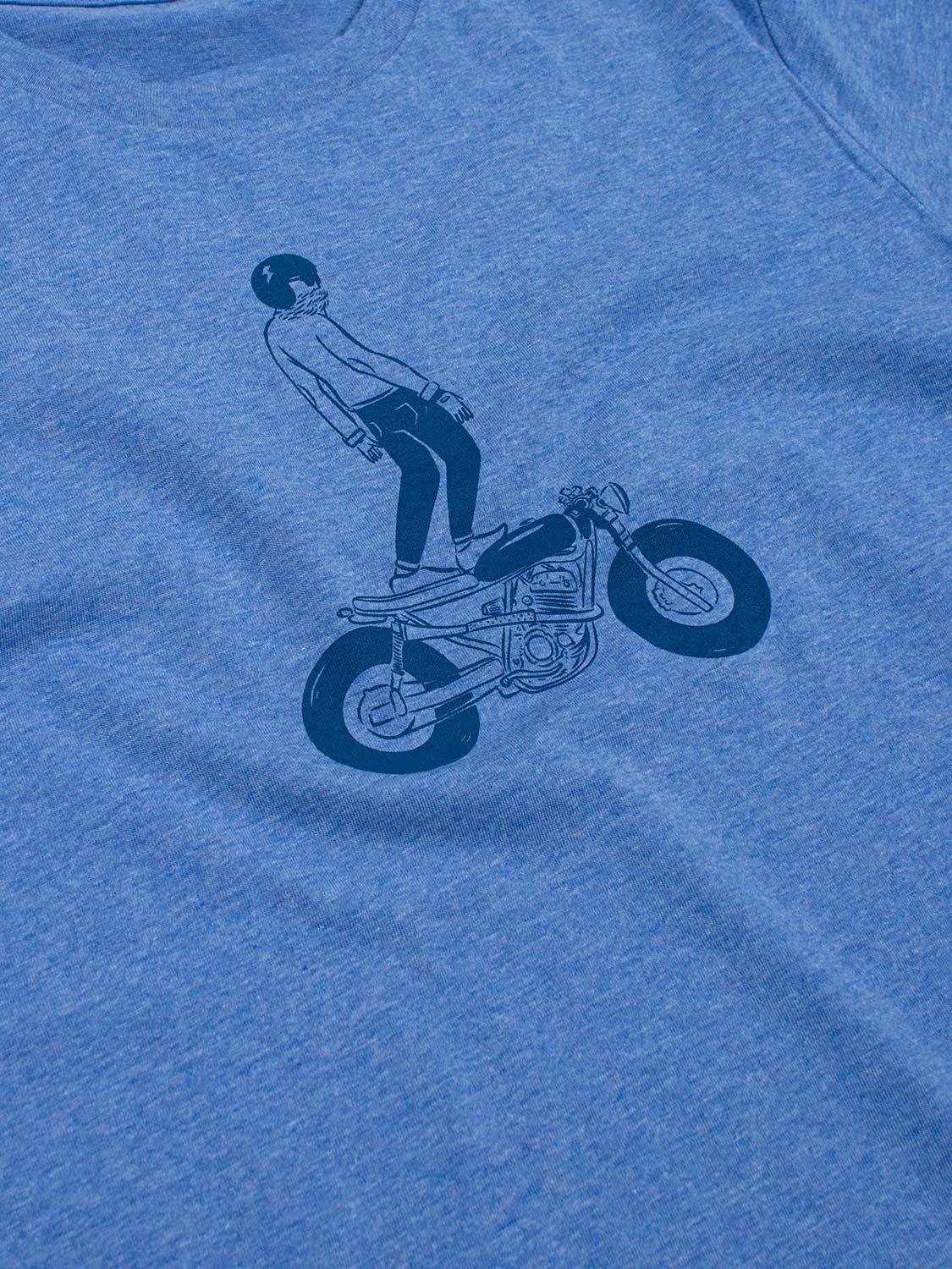 BIKER T-SHIRT HEATHER BLUE