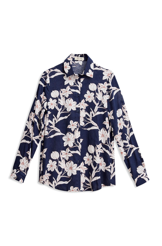 FLOWERS  BLOUSE NAVY