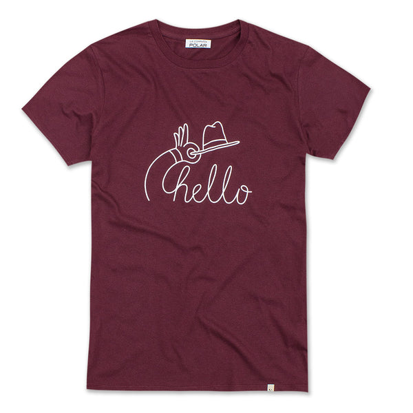 HELLO T-SHIRT BURGUNDY