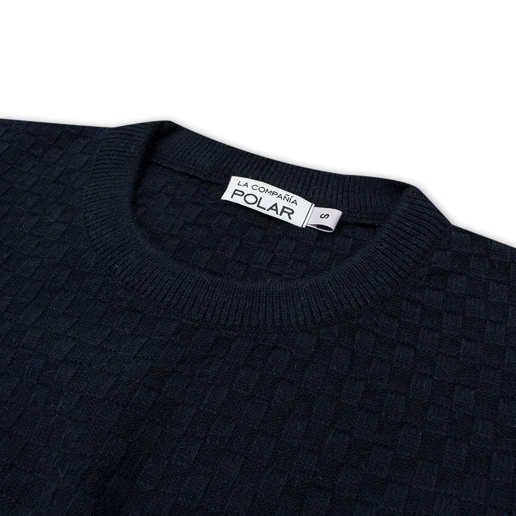 CHECK SWEATER NAVY