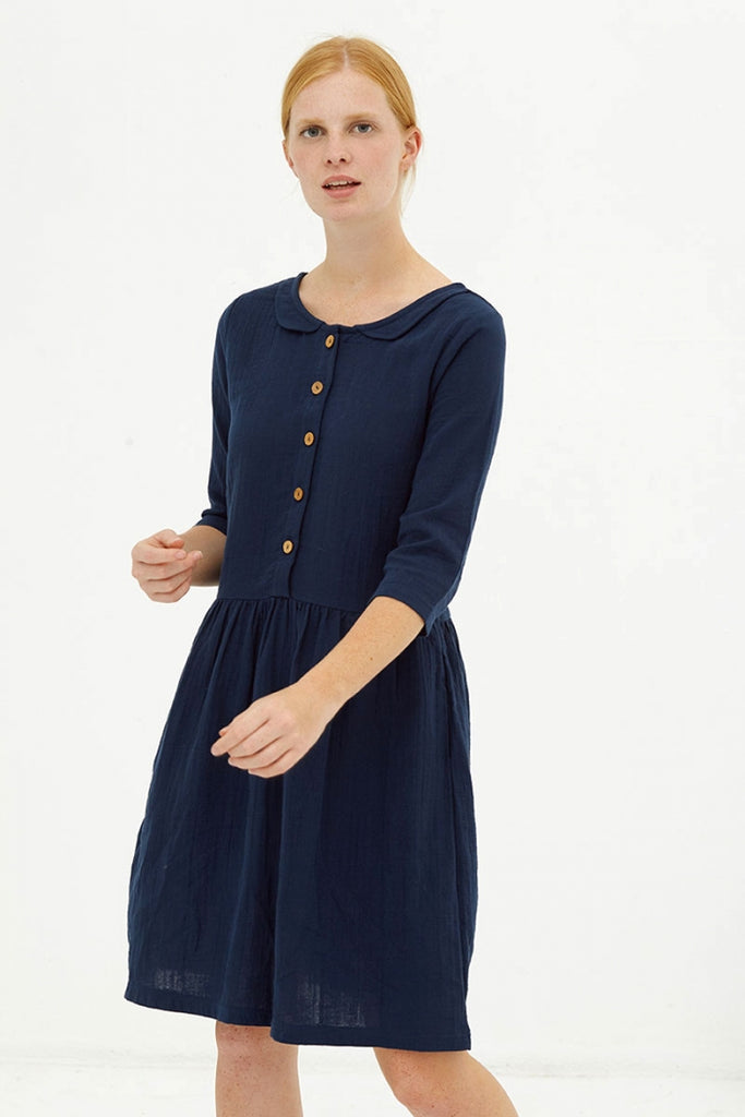 REVERSIBLE DORIE NAVY DRESS