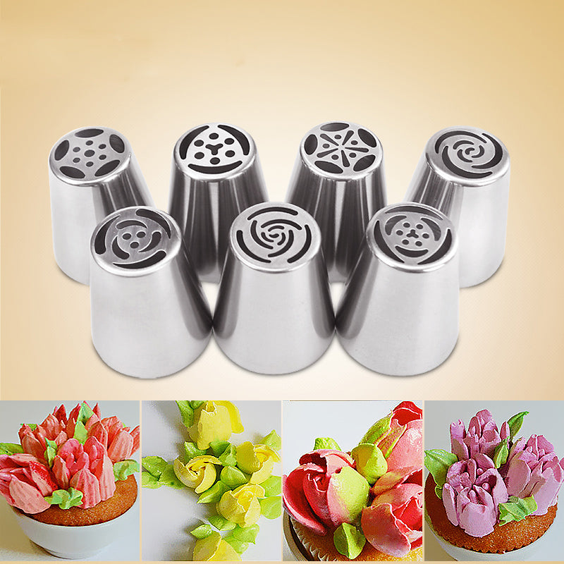 7 Pcs/set Stainless Steel Russian Piping Tips Tulip Nozzles Baking Tools For Cakes Decoration