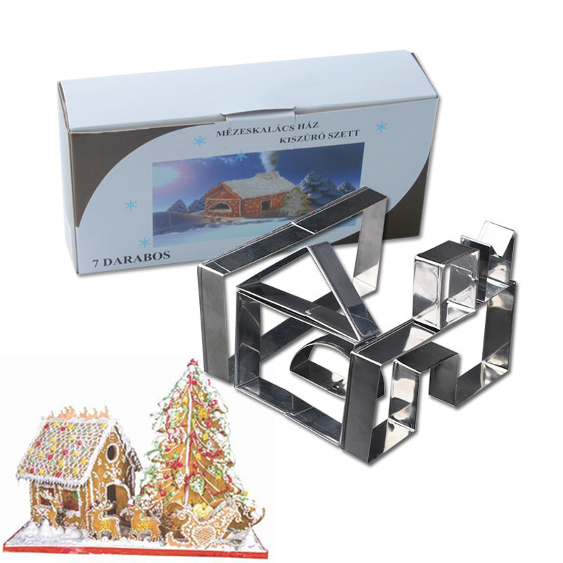 7Pcs Stainless Steel Cookie Cutter Set 3D Christmas