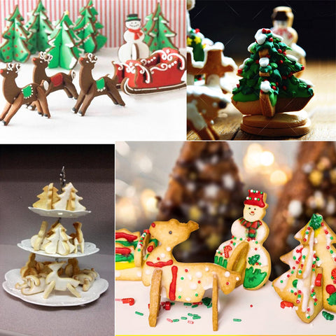 8pcs DIY 3D Christmas Stainless Steel Cookie Cutter Set