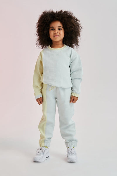 Waffle Jackard Colorblocked Kids Sweatpants