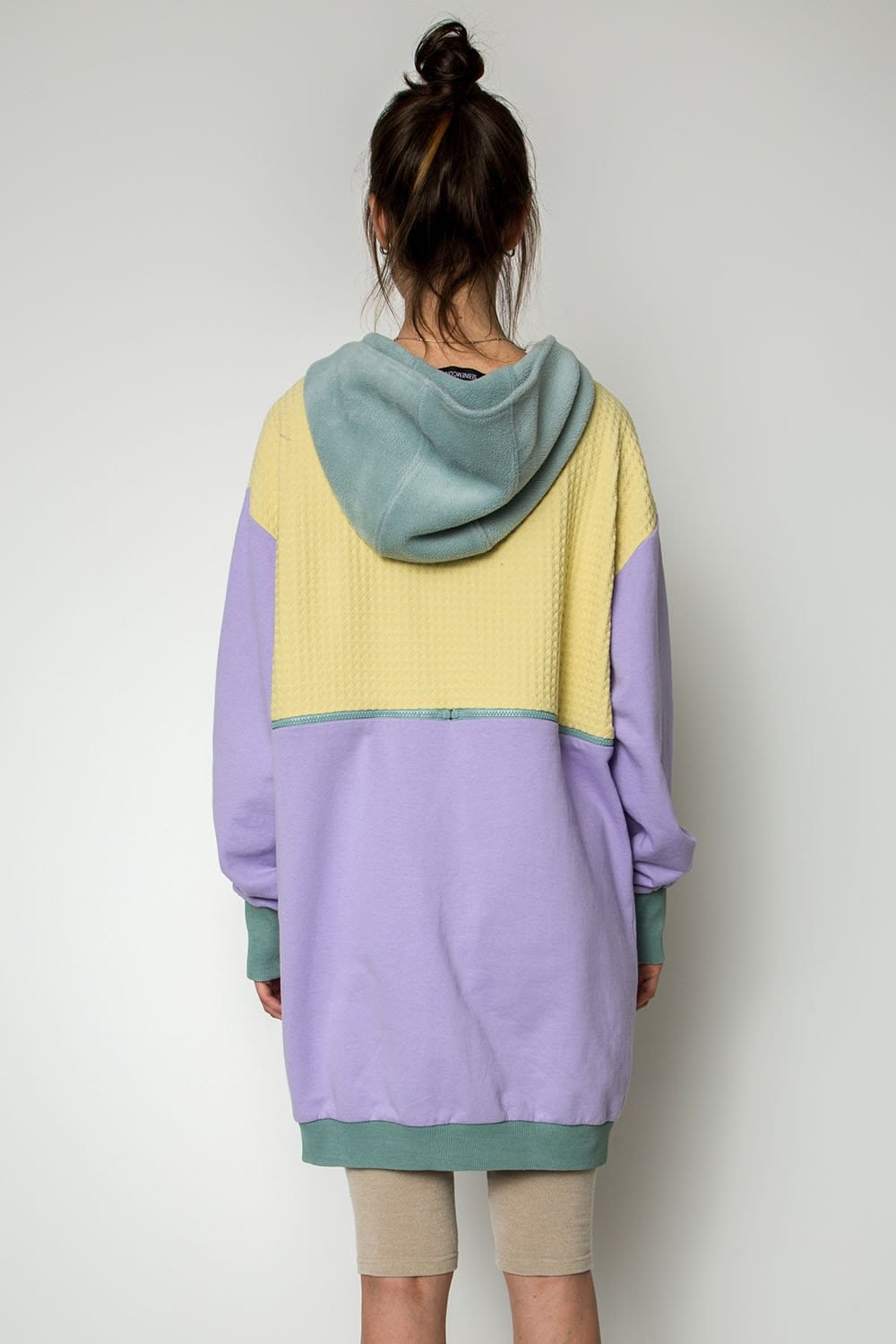 Fresh Lemon violet and mint mixed hoodie dress