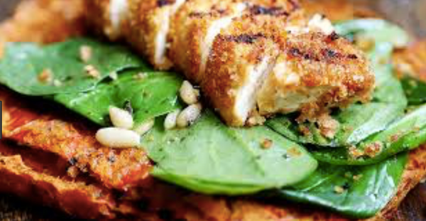 grilled breaded tofu steaks with spinach salad