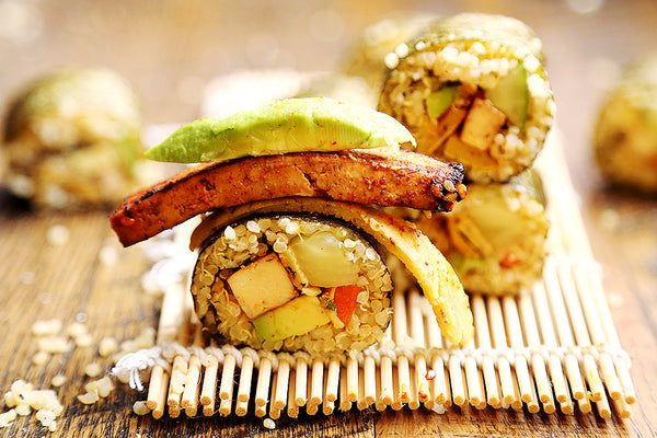 Quinoa Sushi with Tofu Steaks and Chickpea Bean Egg