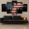 FRAMED EAGLE US FLAG 5 PIECE CANVAS
