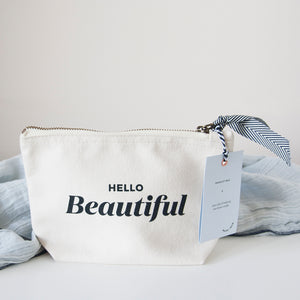 This make up bag has the perfect size to store beauty products, toiletries or valuables while also fitting in a handbag. It is made from natural brushed cotton and has an inspirational 'Hello Beautiful' message on it. This is certainly a very special gift for any new mum, with lots of encouragement!